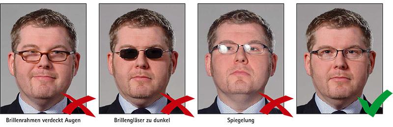 Biometrisches Passbild: Brillenträger
