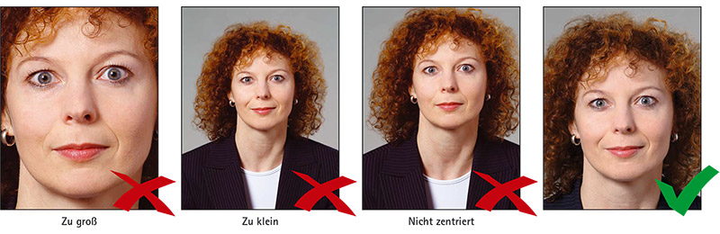 Biometrisches Passbild: Vier Beispiele für das richtige Format