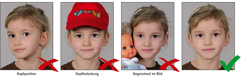 Biometrisches Passbild: Kinder