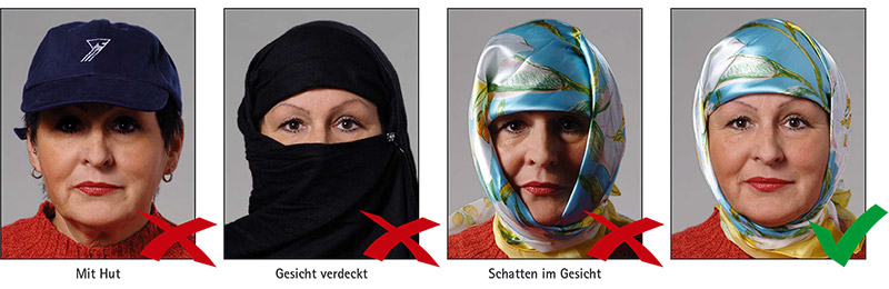 Biometrisches Passbild: Kopfbedeckung