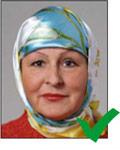Biometrisches Passbild mit Kopftuch